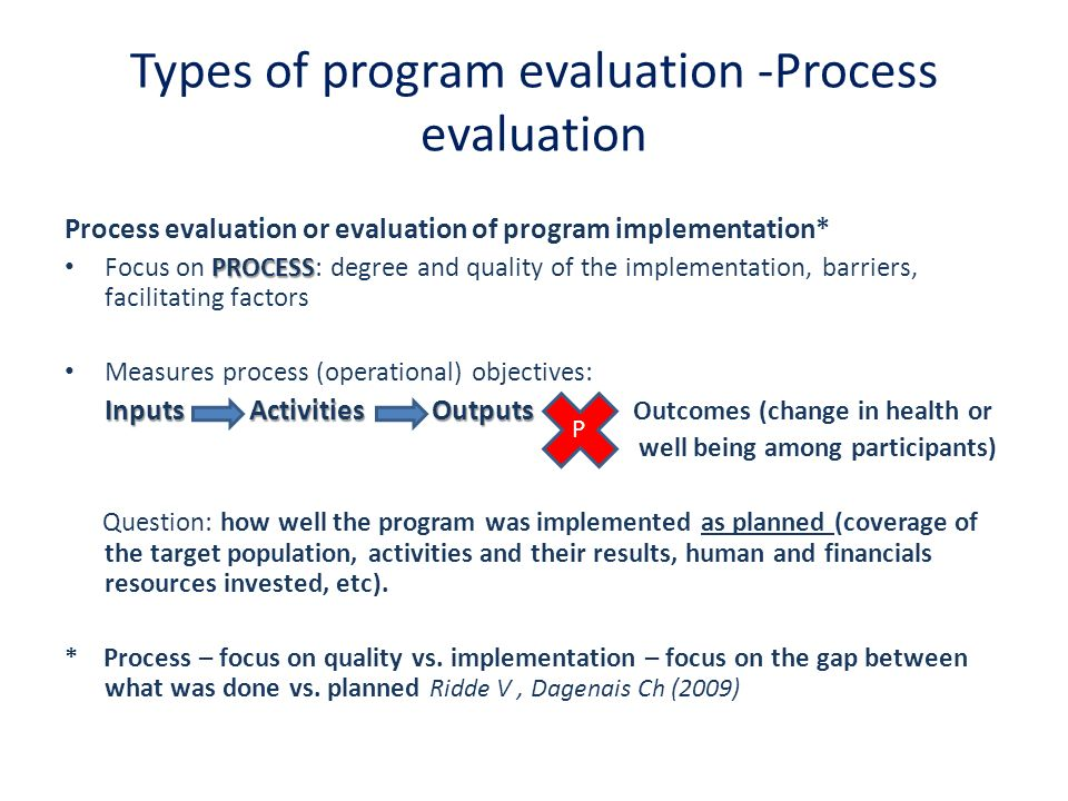 Types of program evaluation -Process evaluation