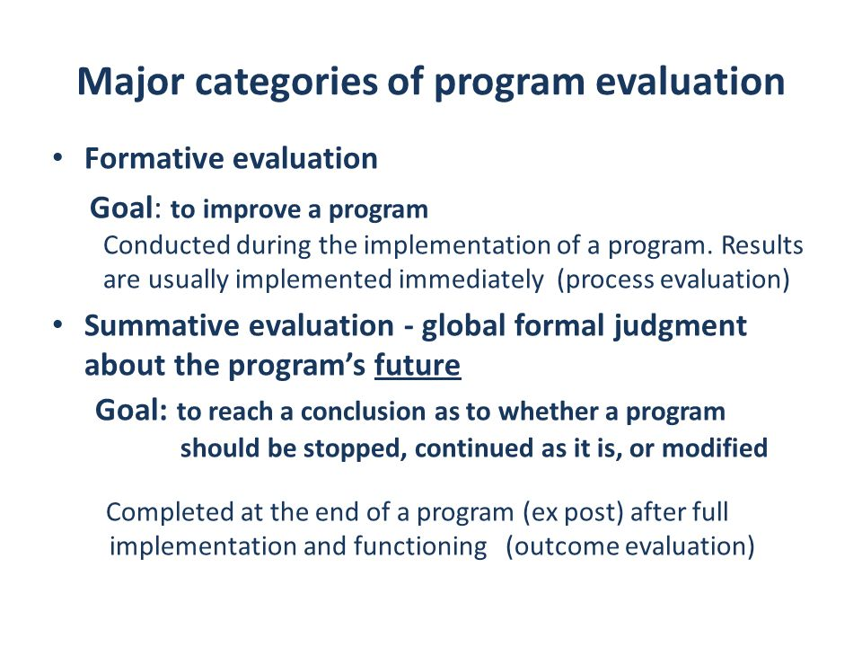 Major categories of program evaluation