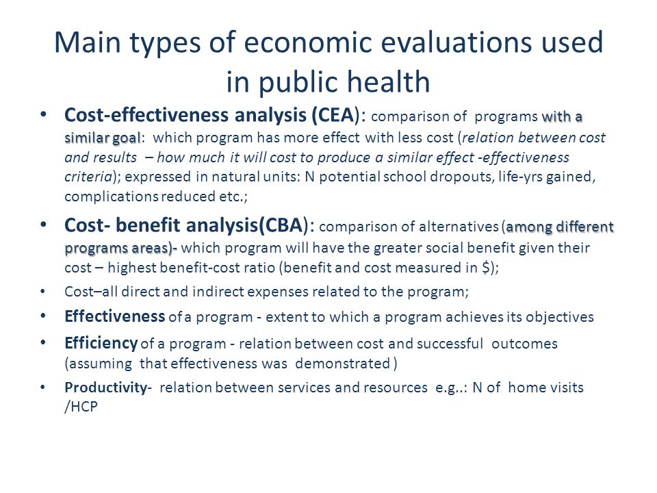 Main types of economic evaluations used in public health