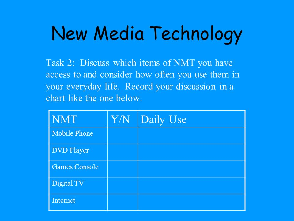 New Media Technology NMT Y/N Daily Use