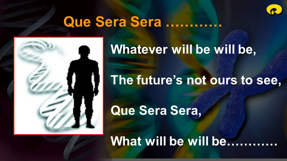Que Sera Sera ………… Whatever will be will be,