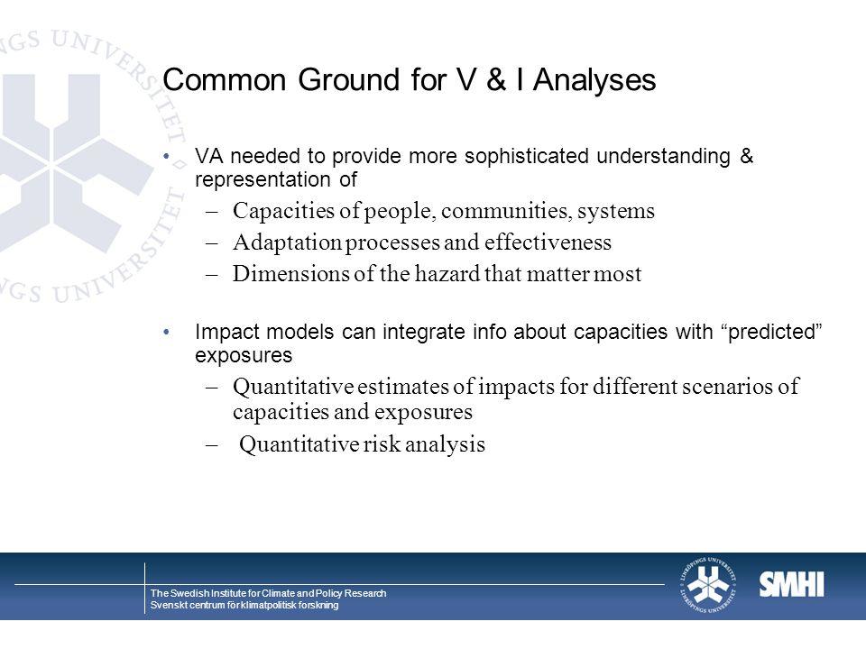 Common Ground for V & I Analyses