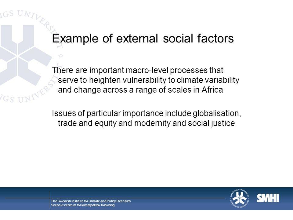Example of external social factors