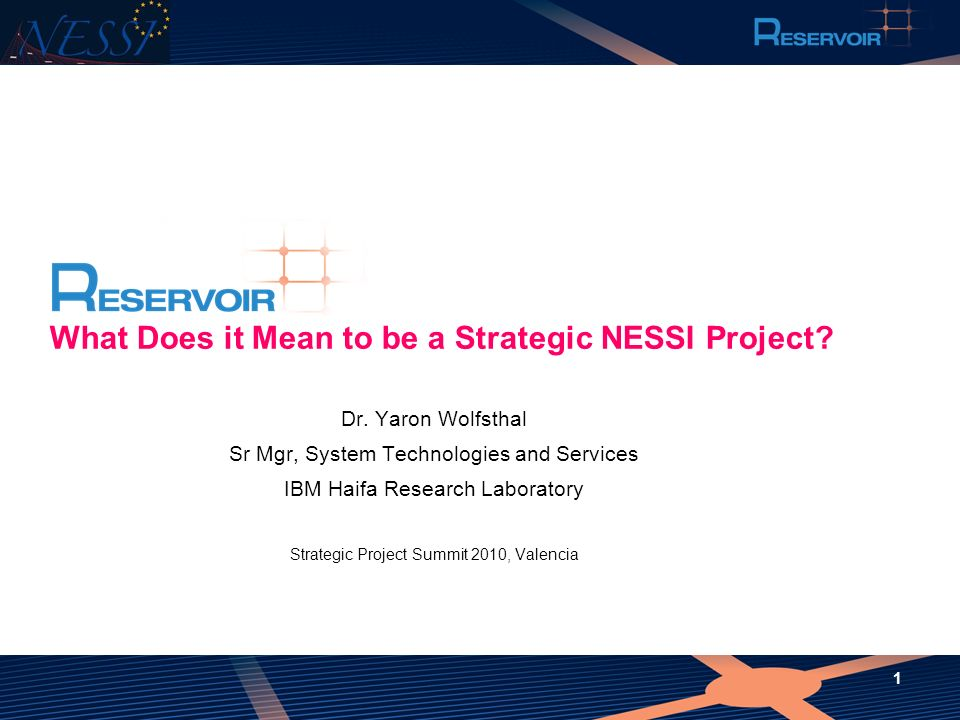What Does it Mean to be a Strategic NESSI Project