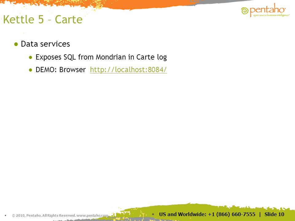 Kettle 5 – Carte Data services Exposes SQL from Mondrian in Carte log