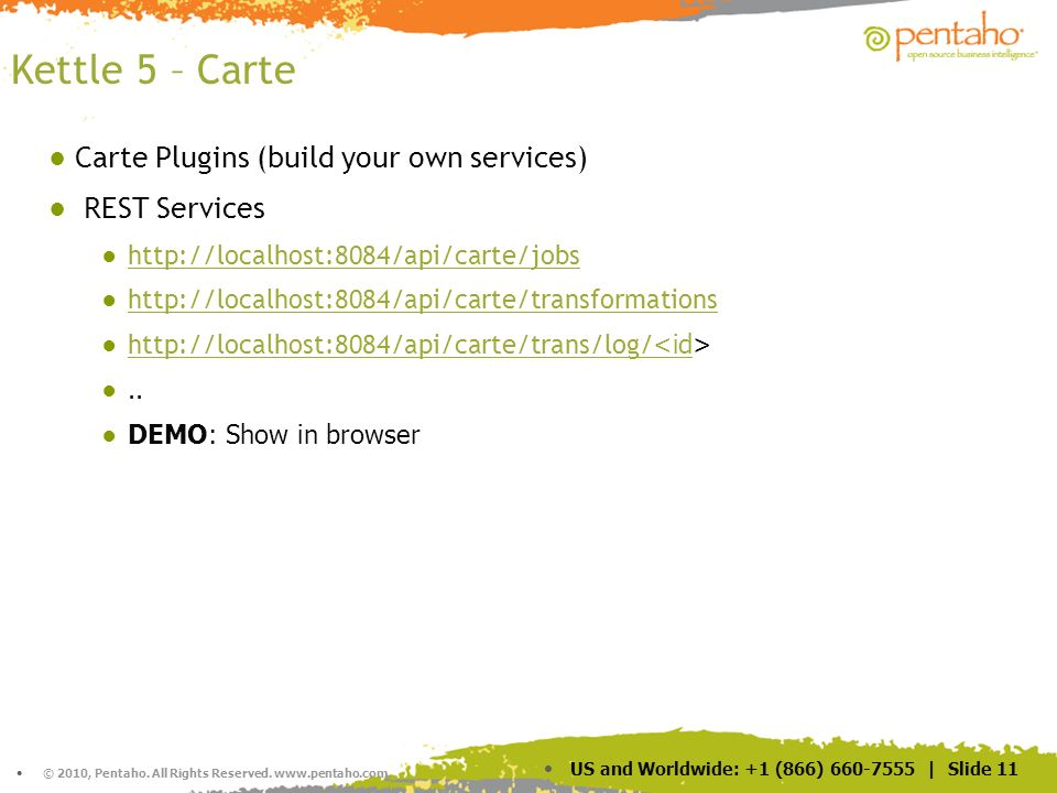 Kettle 5 – Carte Carte Plugins (build your own services) REST Services