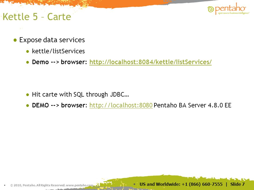 Kettle 5 – Carte Expose data services kettle/listServices