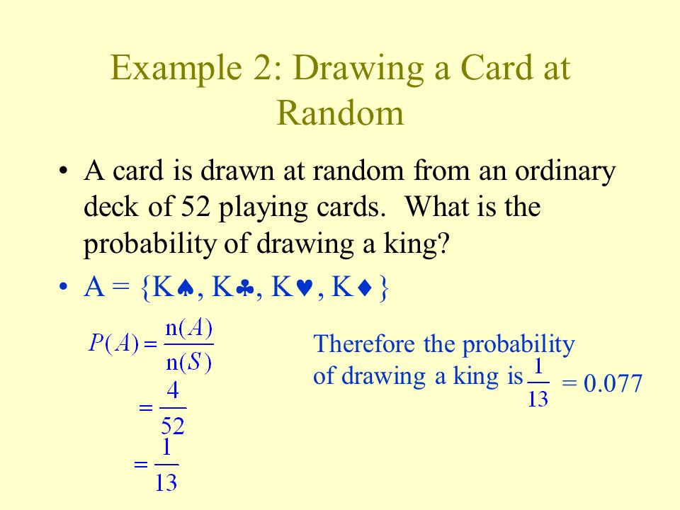 Example 2: Drawing a Card at Random