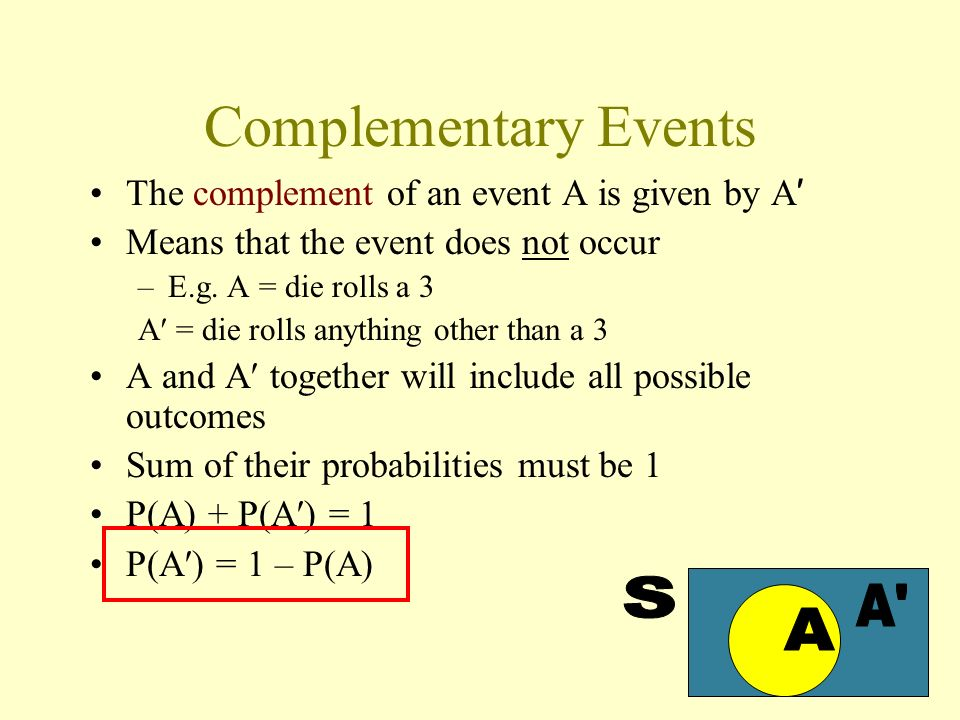 Complementary Events S A A