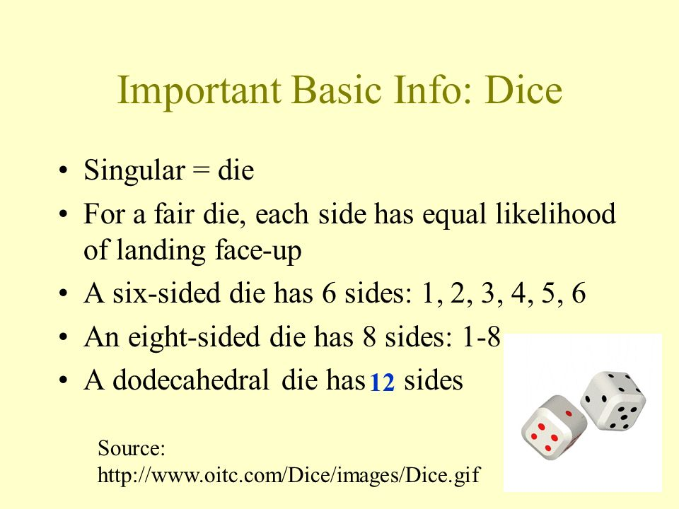 Important Basic Info: Dice