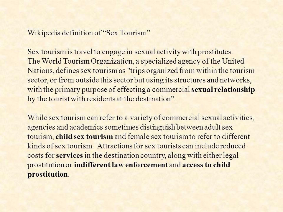 Wikipedia definition of Sex Tourism