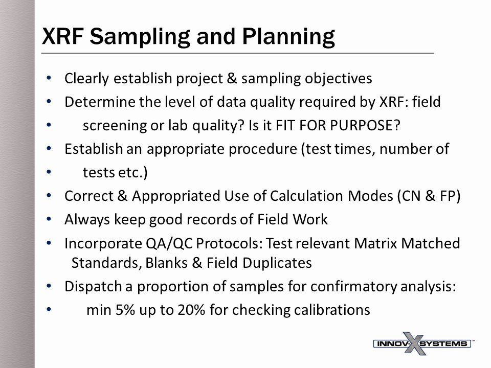 XRF Sampling and Planning