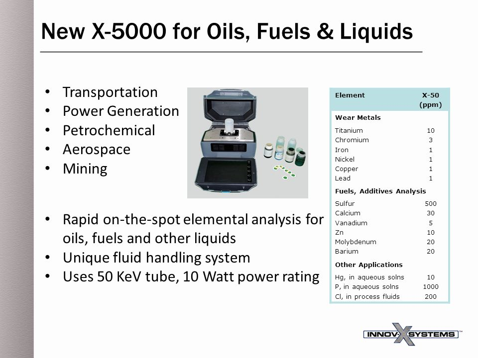 New X-5000 for Oils, Fuels & Liquids
