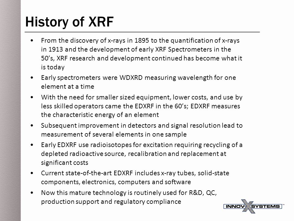 History of XRF