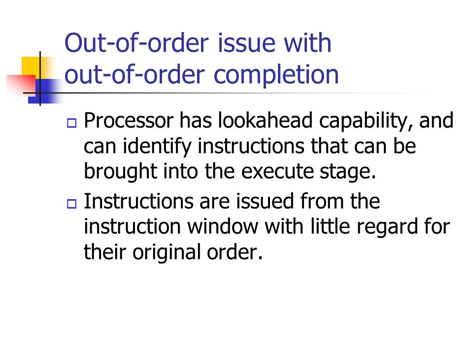 Out-of-order issue with out-of-order completion