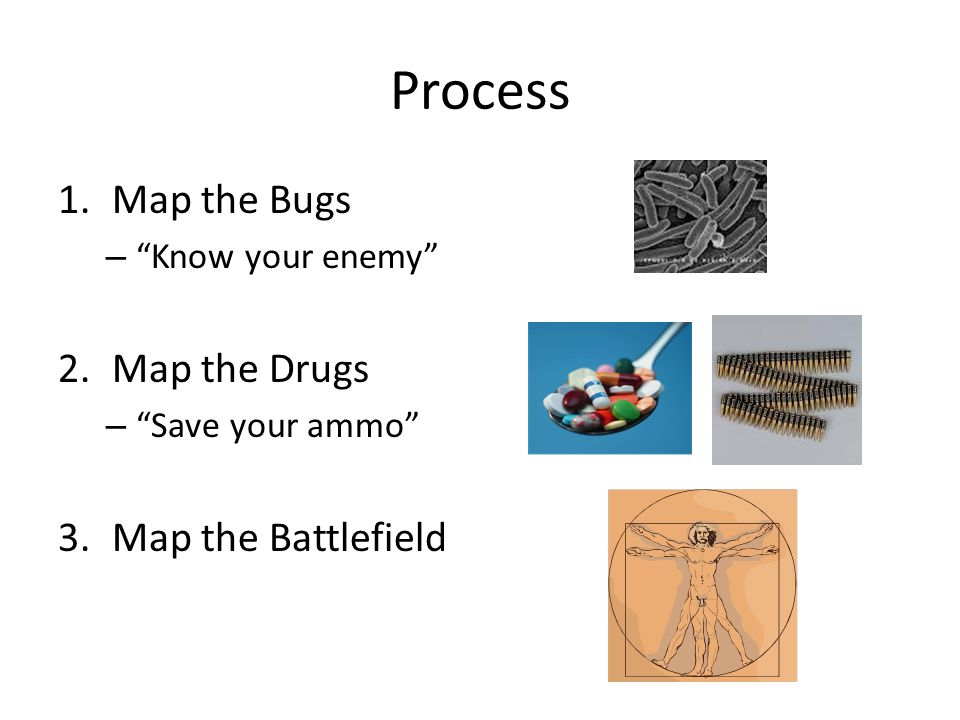 Process Map the Bugs Map the Drugs Map the Battlefield