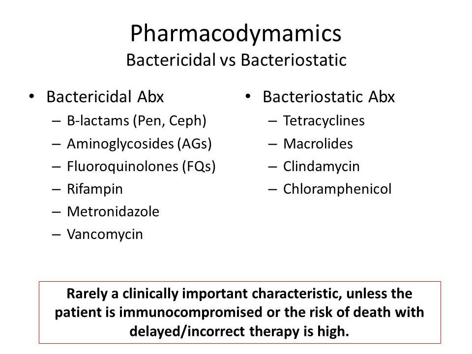Pharmacodymamics Bactericidal vs Bacteriostatic