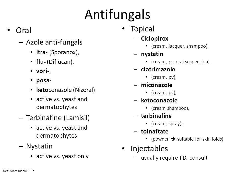 Antifungals Oral Topical Injectables Azole anti-fungals