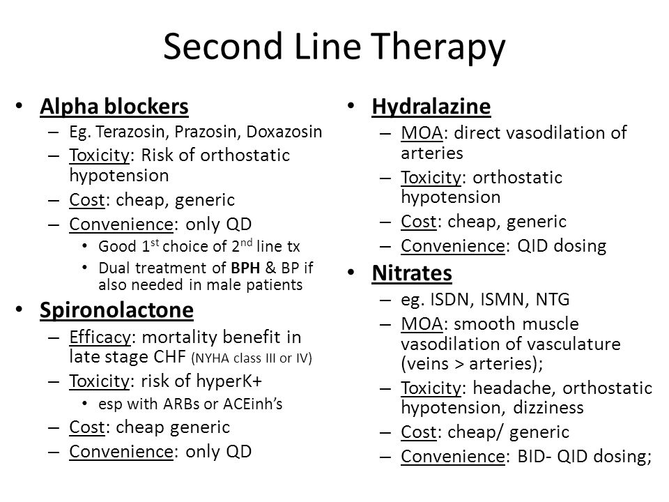 Second Line Therapy Alpha blockers Spironolactone Hydralazine Nitrates