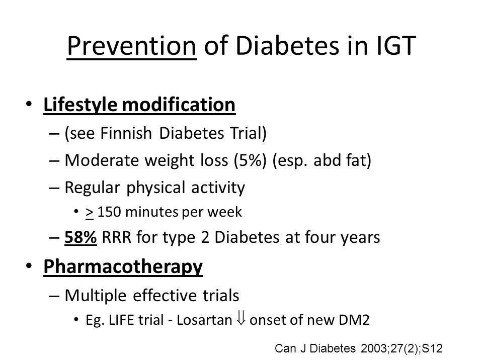 Prevention of Diabetes in IGT