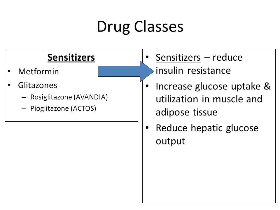 Drug Classes Sensitizers Sensitizers – reduce insulin resistance
