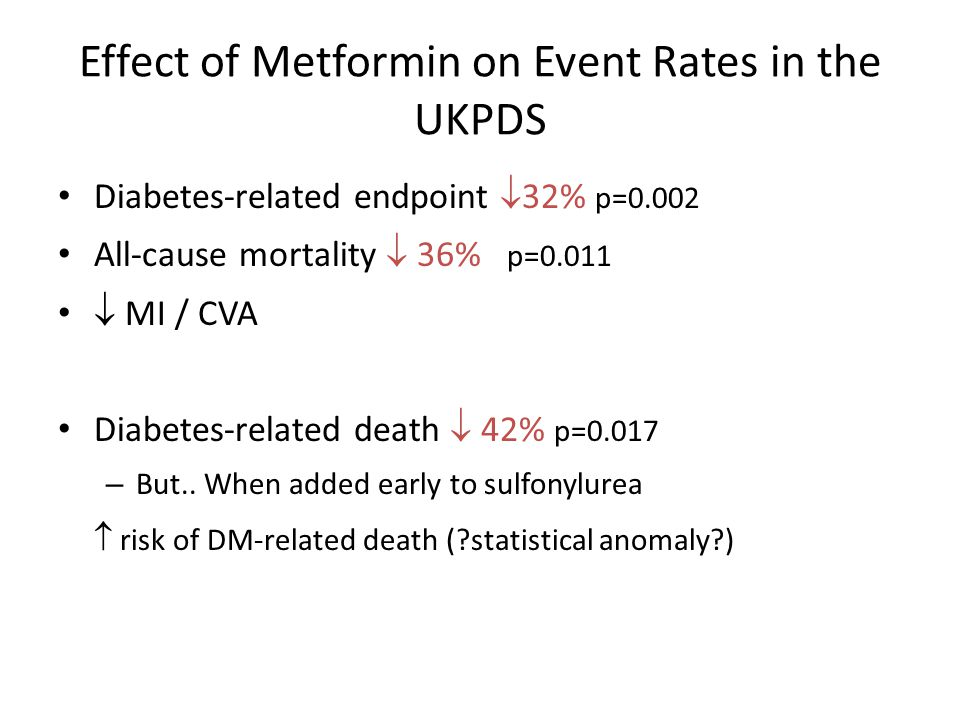 Effect of Metformin on Event Rates in the UKPDS