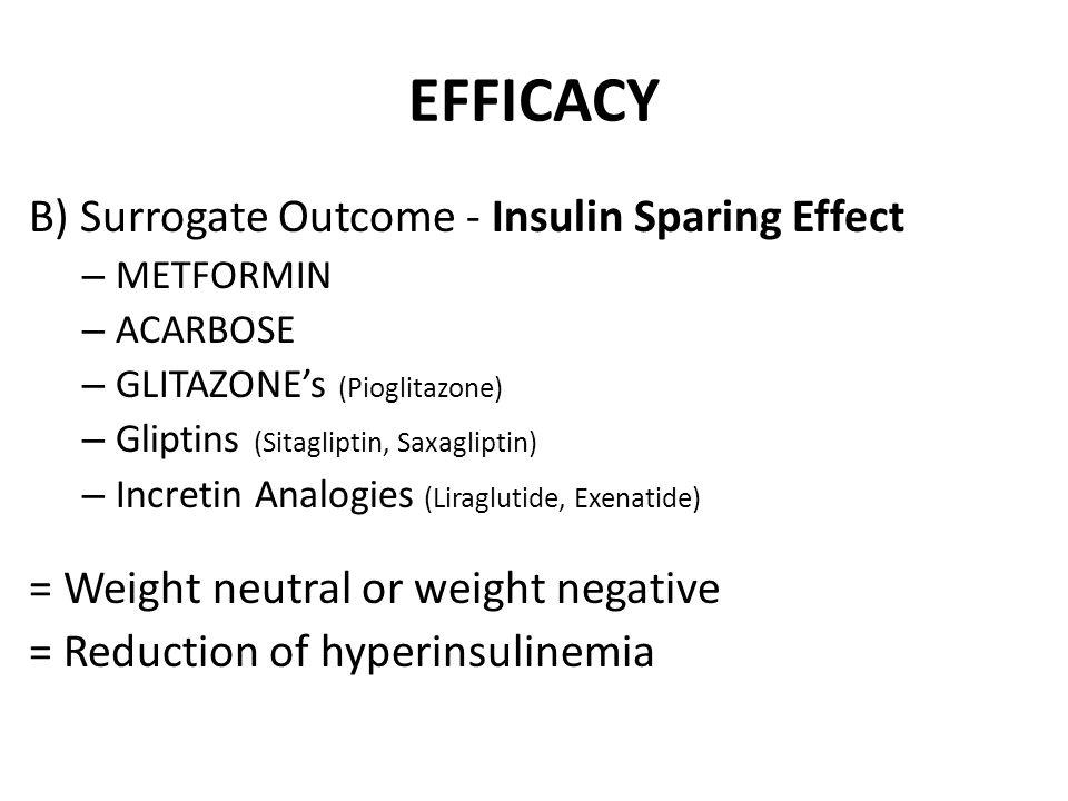 EFFICACY B) Surrogate Outcome - Insulin Sparing Effect