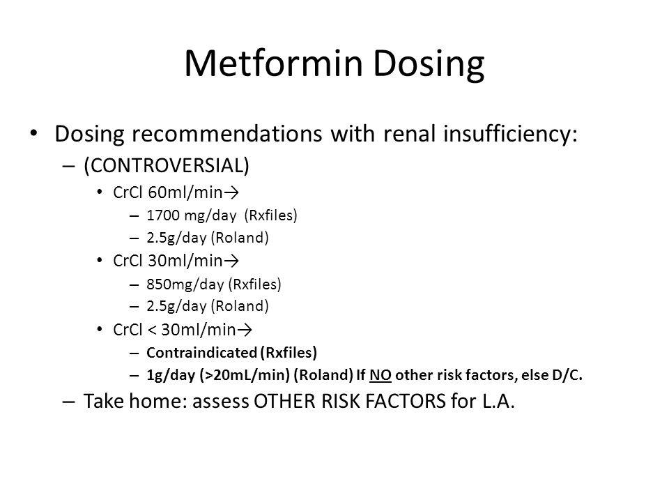 Metformin Dosing Dosing recommendations with renal insufficiency: