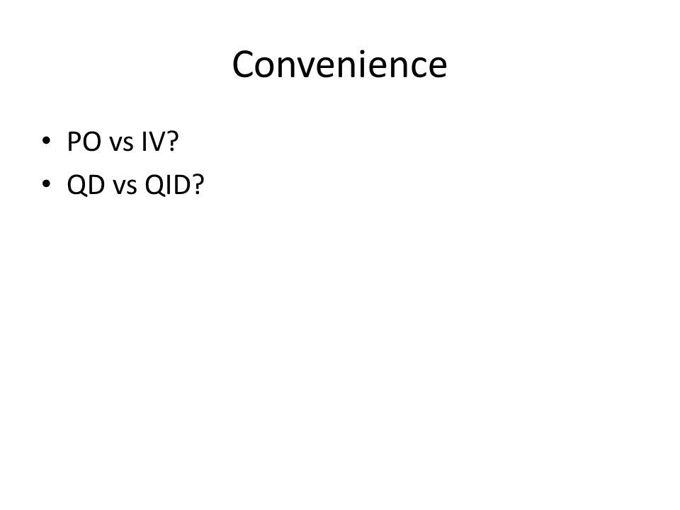 Convenience PO vs IV QD vs QID