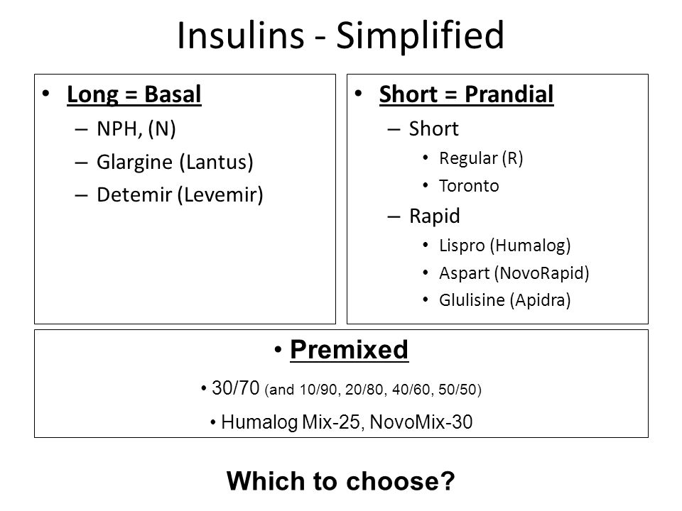 Insulins - Simplified Long = Basal Short = Prandial Premixed