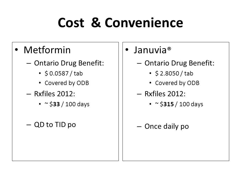 Cost & Convenience Metformin Januvia® Ontario Drug Benefit: