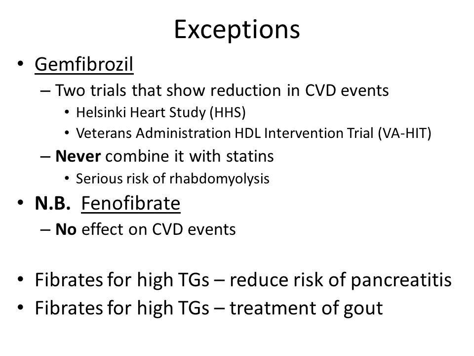Exceptions Gemfibrozil N.B. Fenofibrate