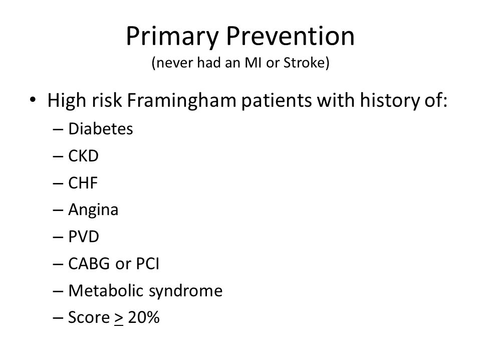 Primary Prevention (never had an MI or Stroke)
