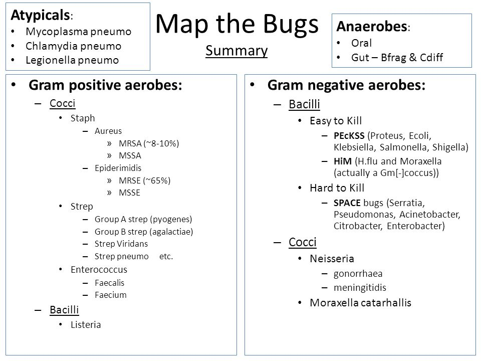 Map the Bugs Summary Atypicals: Anaerobes: Gram positive aerobes: