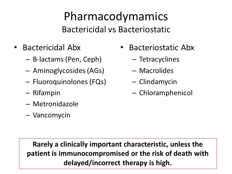 Pharmacodymamics Bactericidal vs Bacteriostatic