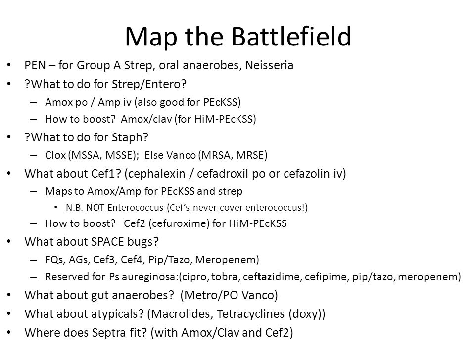 Map the Battlefield PEN – for Group A Strep, oral anaerobes, Neisseria