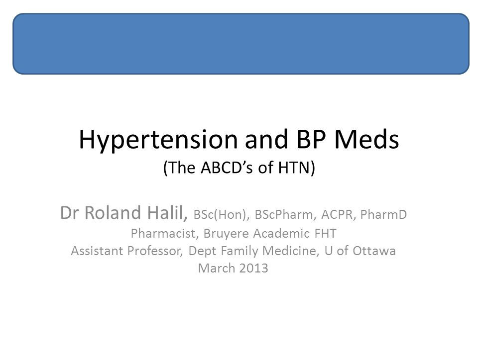 Hypertension and BP Meds (The ABCD's of HTN)