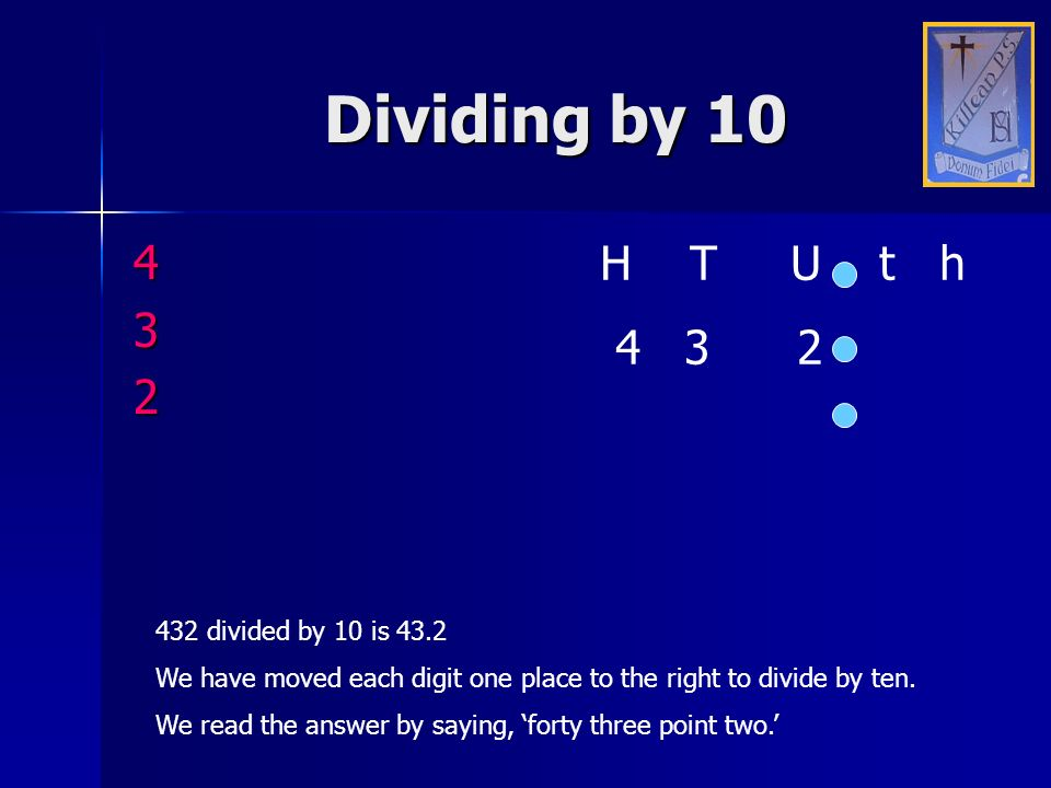 Dividing by 10 4 H T U t h 3 4 3 2 2 432 divided by 10 is 43.2
