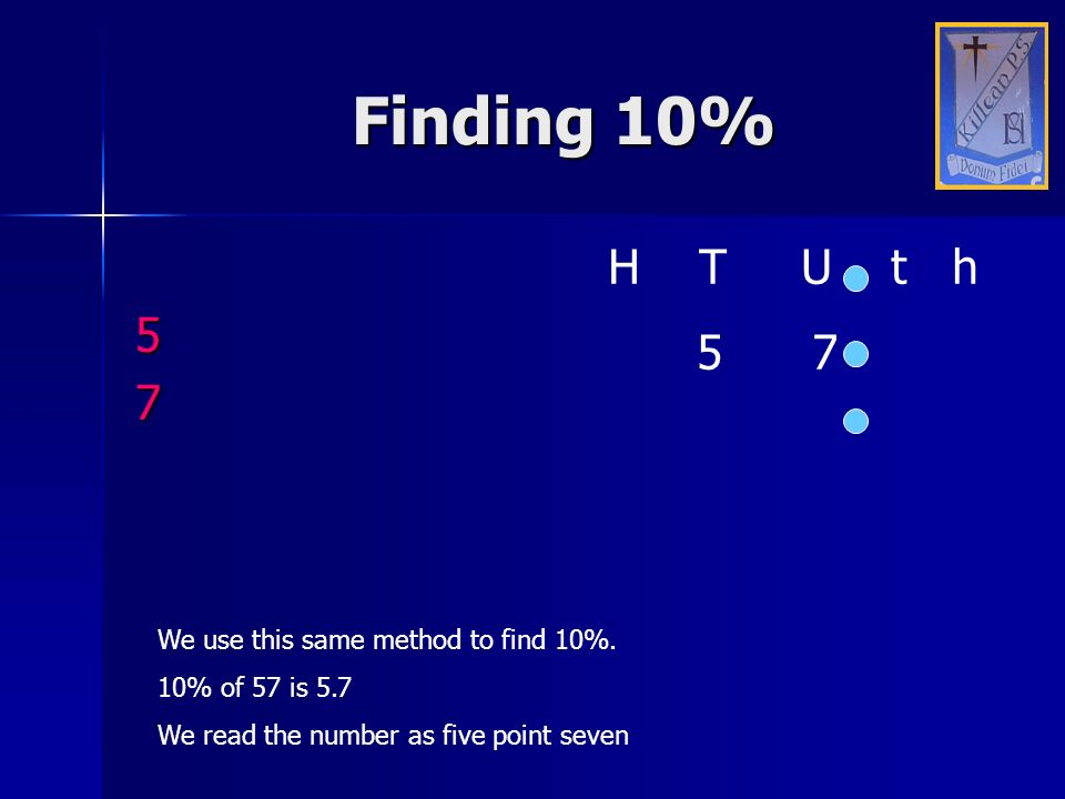 Finding 10% H T U t h 5 5 7 7 We use this same method to find 10%.