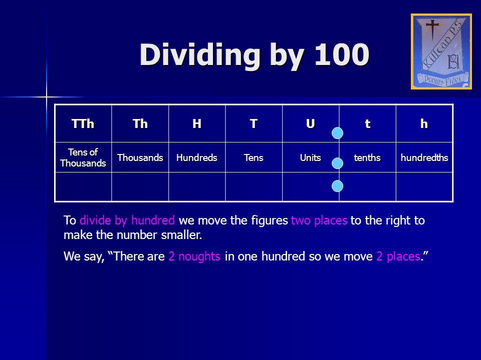 Dividing by 100 TTh Th H T U t h