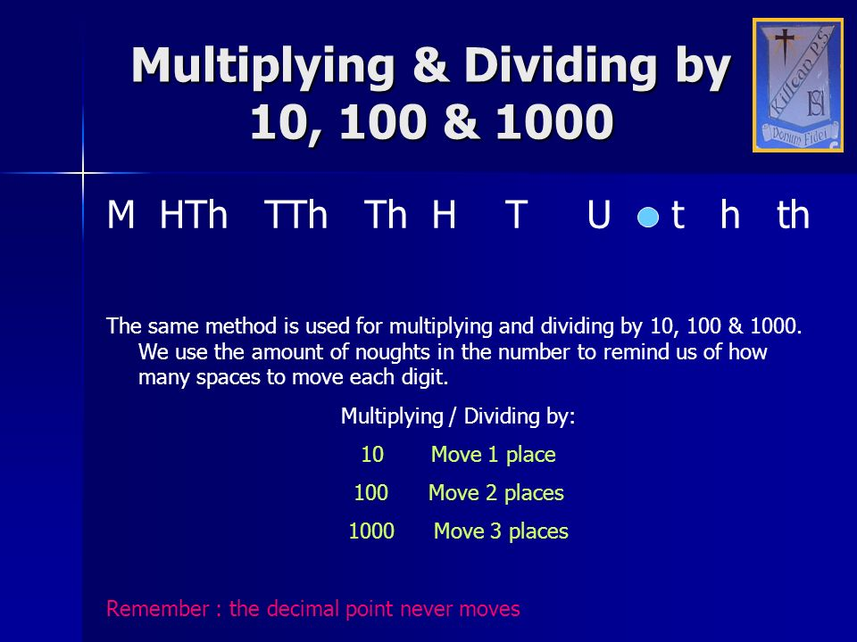Multiplying & Dividing by 10, 100 & 1000