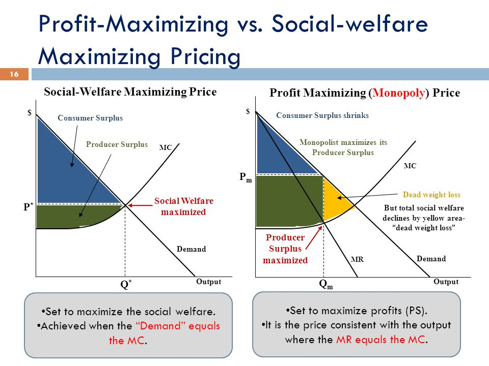 Profit-Maximizing vs. Social-welfare Maximizing Pricing