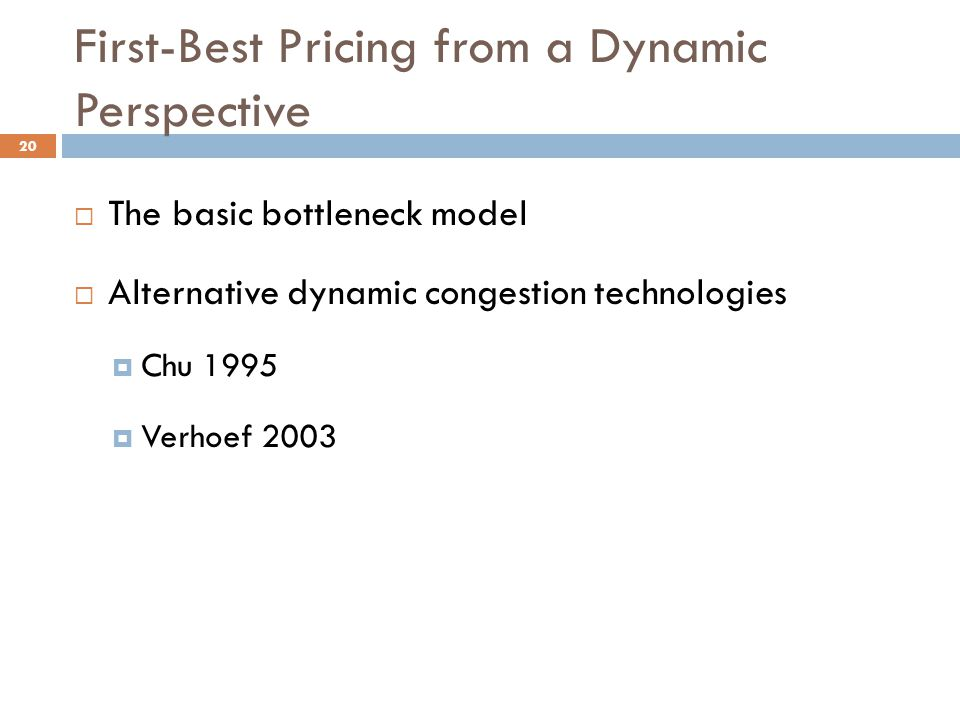 First-Best Pricing from a Dynamic Perspective
