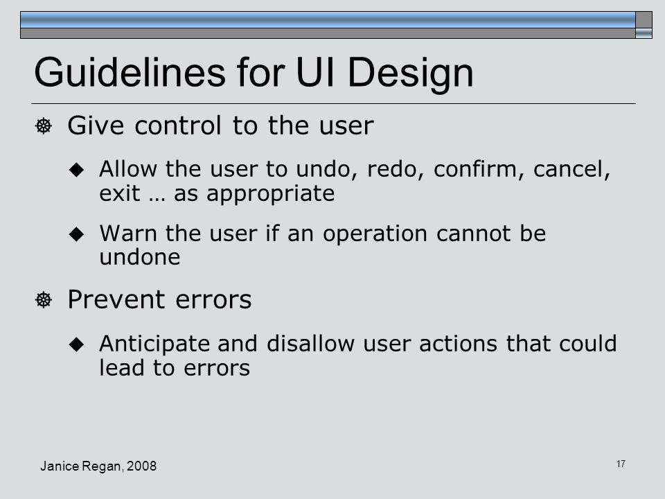 Guidelines for UI Design