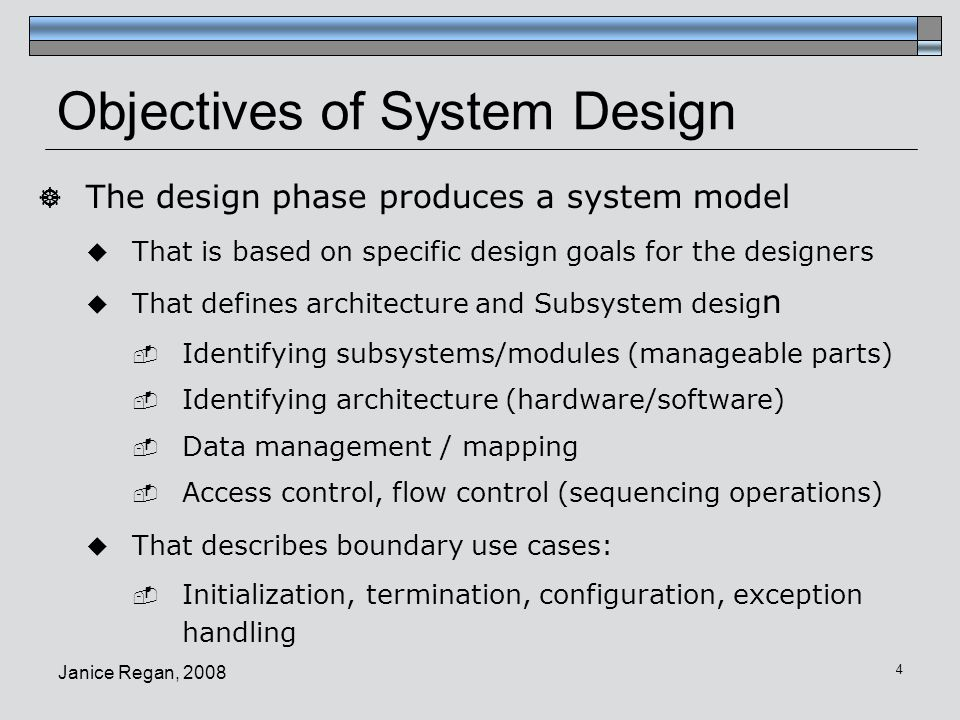 Objectives of System Design