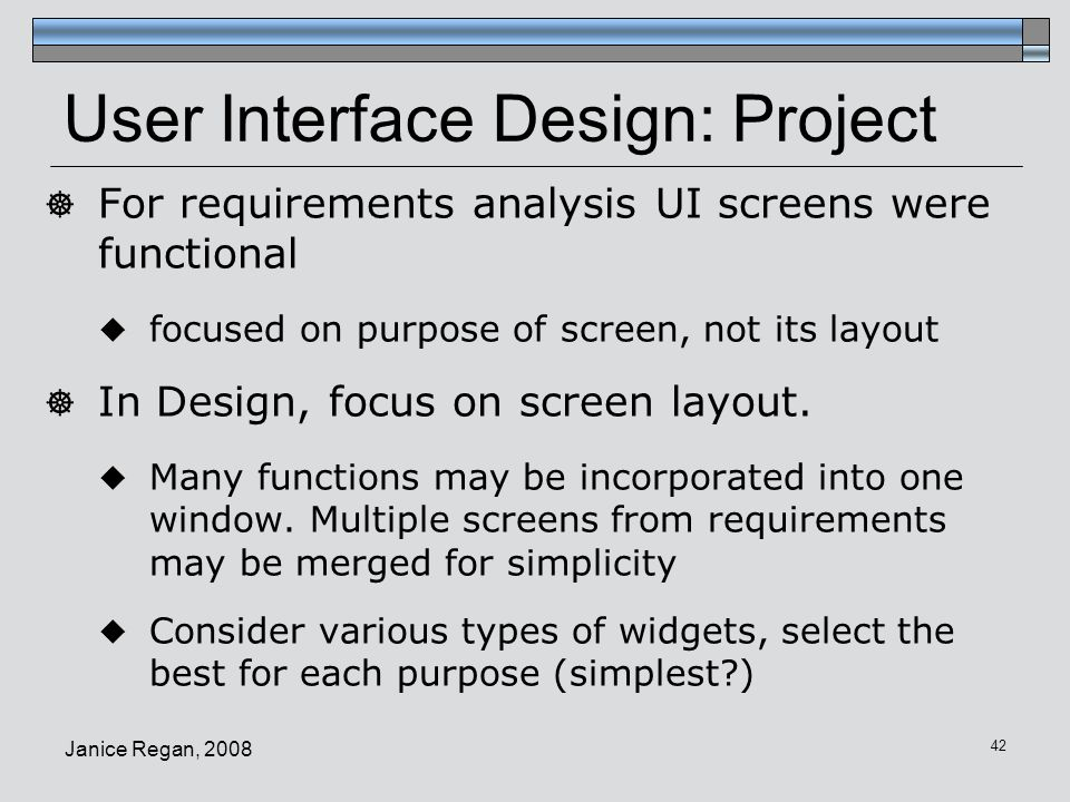 User Interface Design: Project