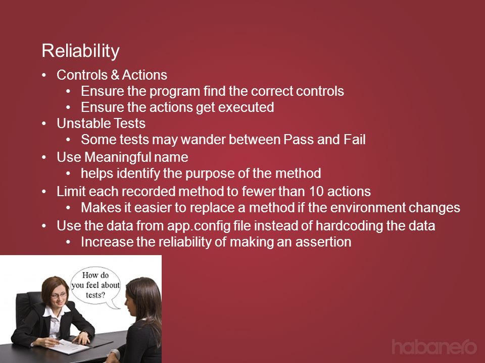 Reliability Controls & Actions