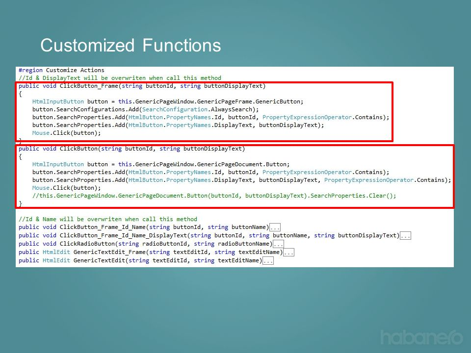 Customized Functions