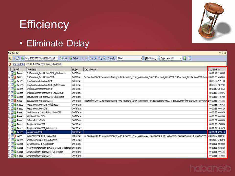 Efficiency Eliminate Delay