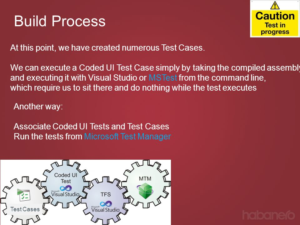 Build Process At this point, we have created numerous Test Cases.